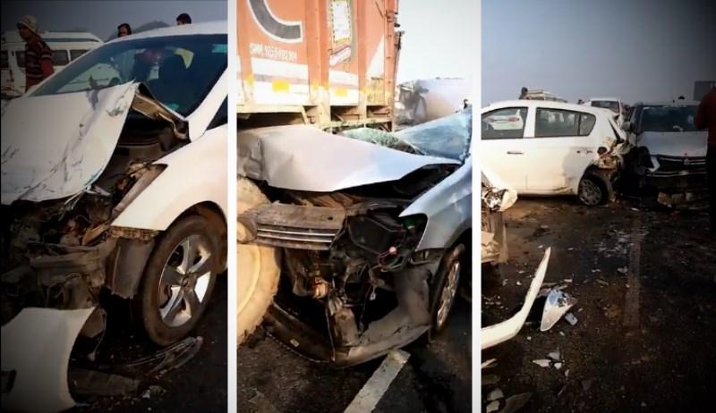 40 Cars, SUVs और Truck का Accident, कोहरे का कहर…