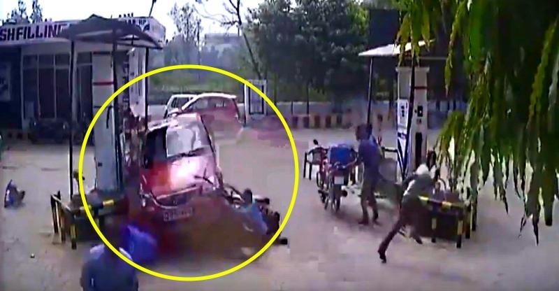Driving Student ने खोया संतुलन; पेट्रोल पम्प पर हुआ एक्सीडेंट [Video]…