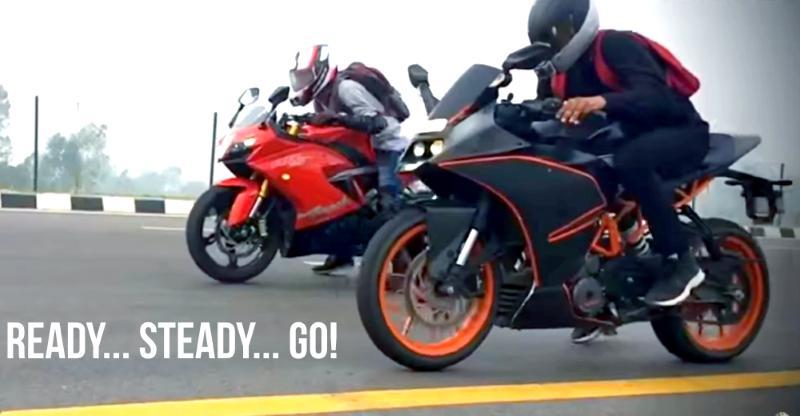 मुकाबला: TVS Apache RR310 और KTM RC390 के बीच मोटरसाइकिल ड्रैग रेस की विडियो में देखिये कौन है बॉस!