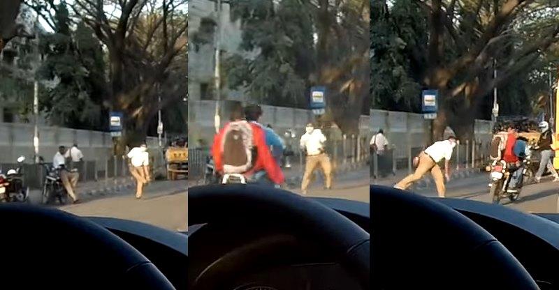 बिना हेलमेट के बाइक चलाने पर आप भी पिट सकते हैं चप्पल से, देखिये विडियो