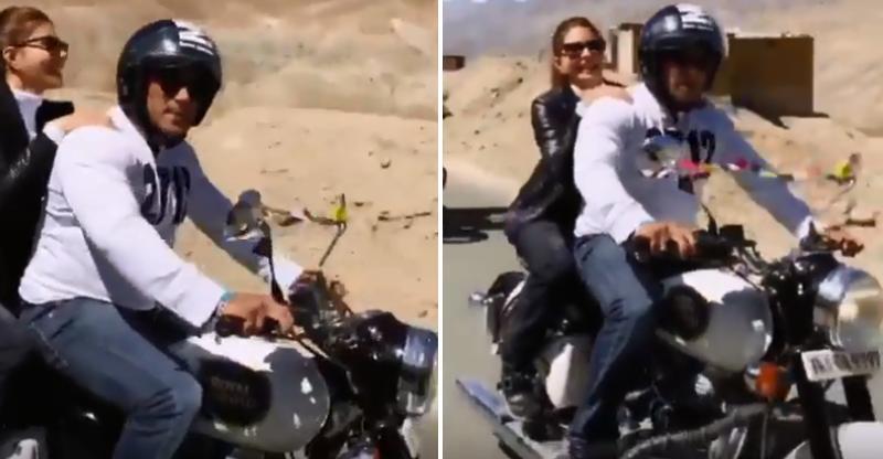 Ladakh में Royal Enfield पर Salman Khan और Jacqueline Fernandez, विडियो में हैं डिटेल्स