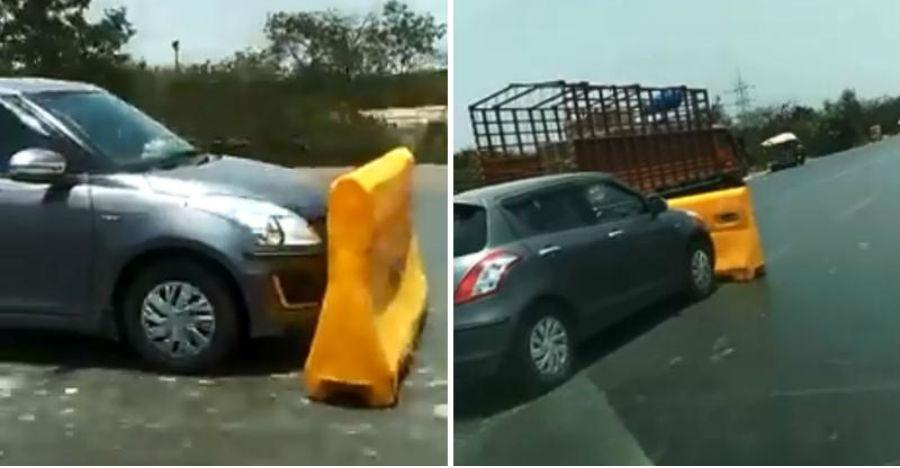 बैरिकेड के साथ भागने वाली Maruti Swift को मुंबई पुलिस ने धर दबोचा