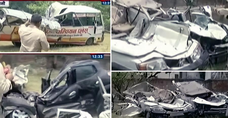वाराणसी में पुल हादसे में दबी गाड़ियाँ बयाँ करती हैं तबाही का मंज़र…