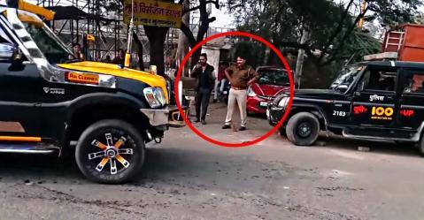 नाचती हुई Mahindra Scorpio को देखकर पुलिस वाला रह गया दंग [वीडियो]
