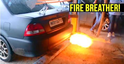 ये Honda City आग उगलती है; कैसे काम करता है एक फ्लेम थ्रोअर एग्जॉस्ट?