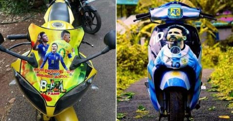Yamaha R15 से Honda Activa तक कैसे केरल में ज़ोर पकड़ रहा FIFA वर्ल्ड कप का जूनून