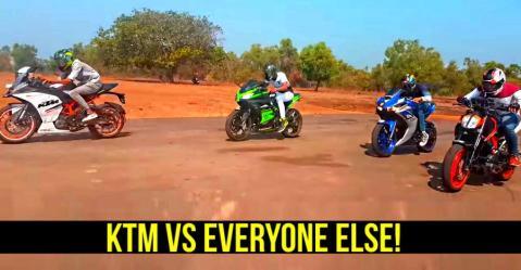 390 Duke और RC 390 ड्रैग रेस के इस विडियो में आसानी से Ninja 300, Dominar वगैरह को हरा देते हैं!