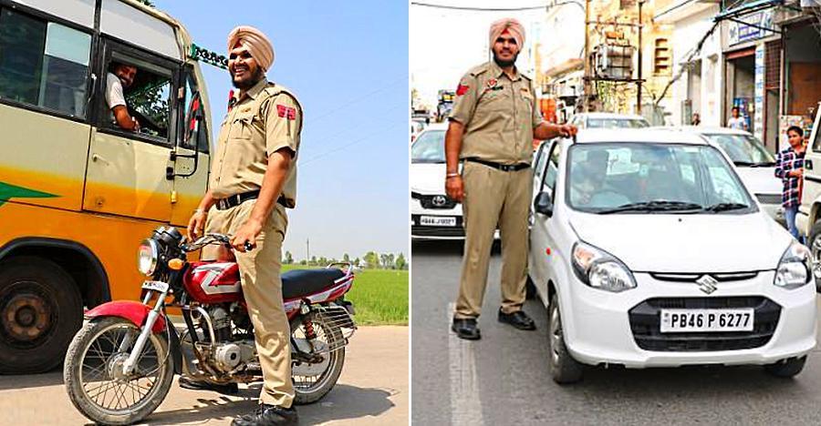 पंजाब के साढ़े 7 फुट के लम्बे ट्रैफिक पुलिसकर्मी के लम्बे हाथों से कोई नहीं बच सकता!