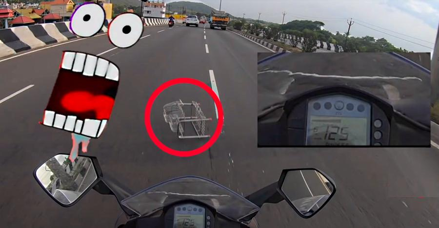 क्या होता है जब KTM RC200 रोड पर एक मेटल ग्रिल से टकरा जाती है? [विडियो]