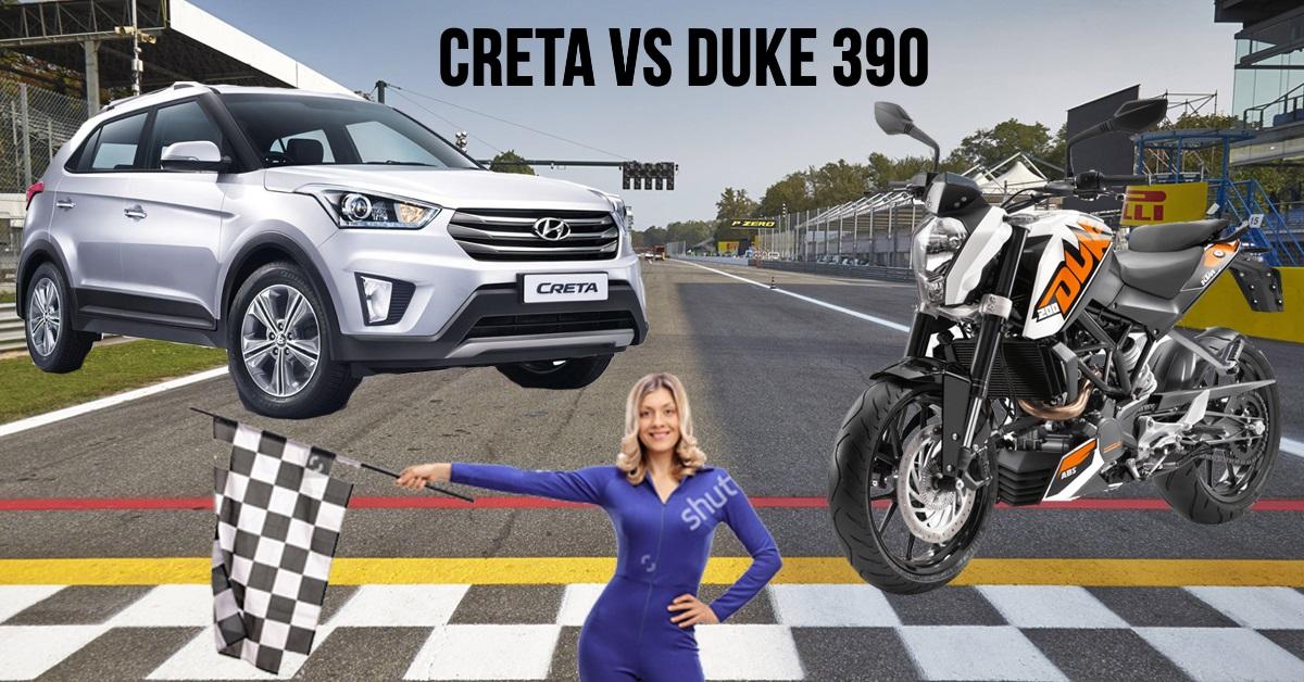 KTM Duke 390 और Hyundai Creta के बीच 170 किमी/घंटे की रेस, ये रेसिंग नहीं बेवकूफी है!