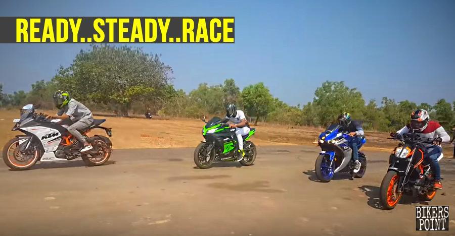 TVS Apache 310 vs KTM Duke+RC vs Kawasaki Ninja vs Yamaha R3 के बीच फर्स्ट गियर चैलेंज में कौन जीता [विडियो]