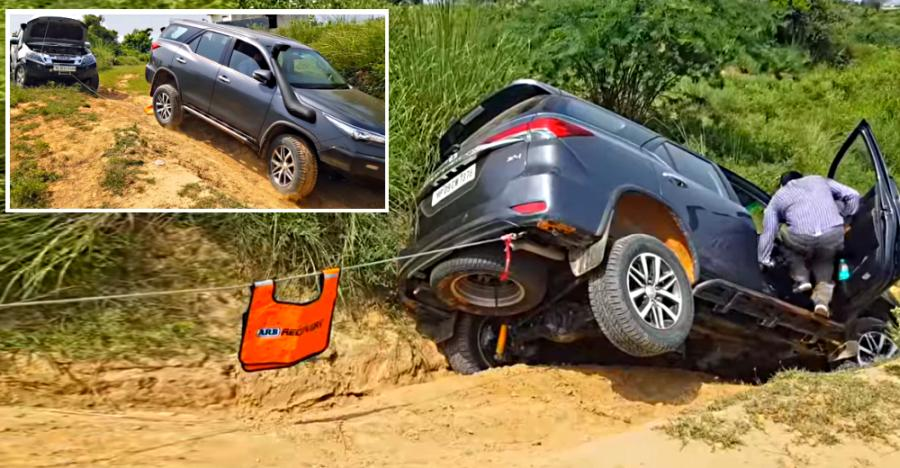 Toyota Fortuner Getting Winched Out By A Isuzu V Cross Feature