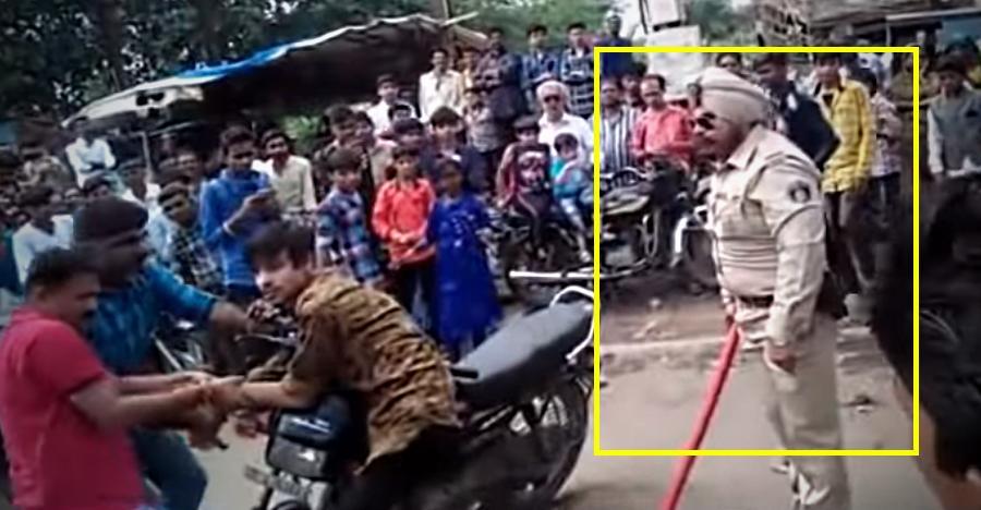 देखिये कैसे Hero Splendor पर स्टंट कर रहे युवक को उपहार में मिले पुलिस के डंडे!