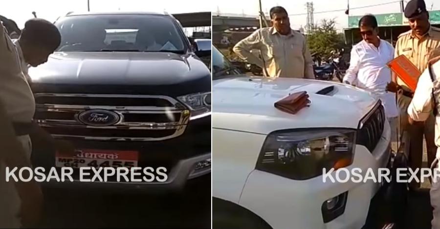 पुलिस ने जब तोड़े Mahindra Scorpio, Ford Endeavour, और Figo Freestyle पर लगे गैरकानूनी नंबर प्लेट और हूटर (वीडियो)