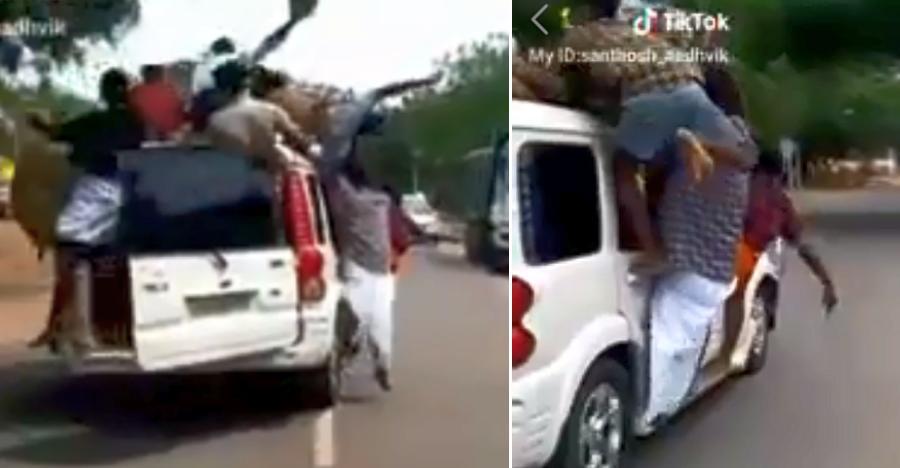 Mahindra Scorpio से लहराते हुए लोग उड़ा रहे हैं ट्रैफिक नियमों का मखौल [वीडियो]