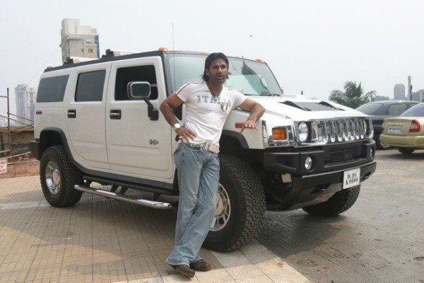 Actor Suniel Shetty With His Car Hummer At His Residence