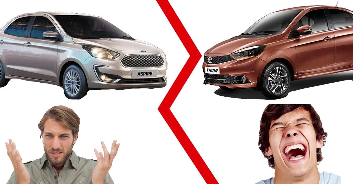 Tigor के विशेष संस्करण के लॉन्च से पहले Tata Motors ने नई Ford Aspire का उड़ाया मजाक!
