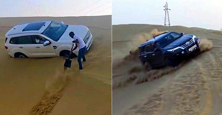रेत में करतब करते हुए फंसी Ford Endeavour: Toyota Fortuner ने दिखाया कैसे की जाती है यह चुनौती पार