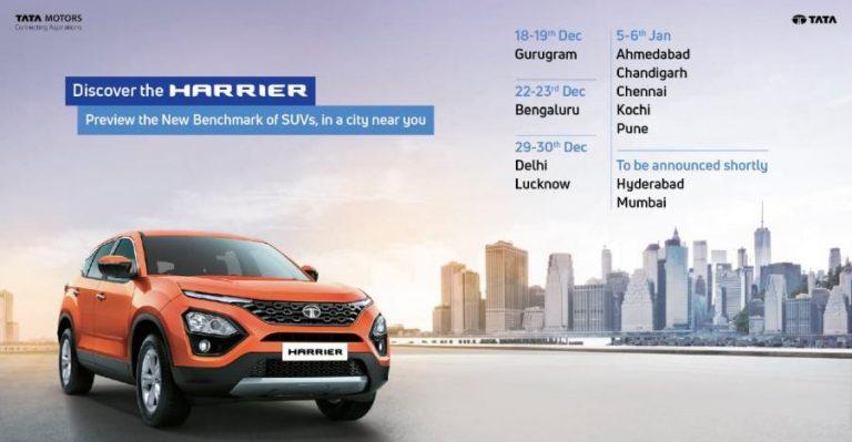 Tata Harrier SUV आ रही है आपके शहर: किस शहर में कब होगा इस SUV का रोड शो!