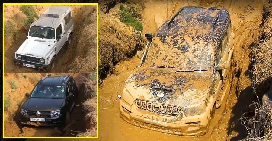 देखिये Toyota Fortuner, Ford Endeavour, Mahindra Scorpio और बाकी SUVs कैसे करती हैं कीचड़ का सामना
