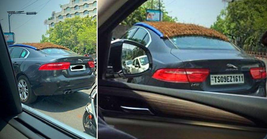 लाखों की Jaguar XE पर लगा 'चिक' का देसी जुगाड़!