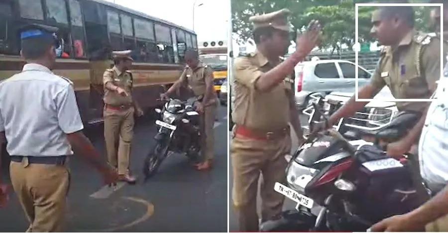 देखिये कैसे पुलिस ऑफिसर ने सब-इंस्पेक्टर को बिना हेल्मेट बाइक चलाने के लिए रोका!