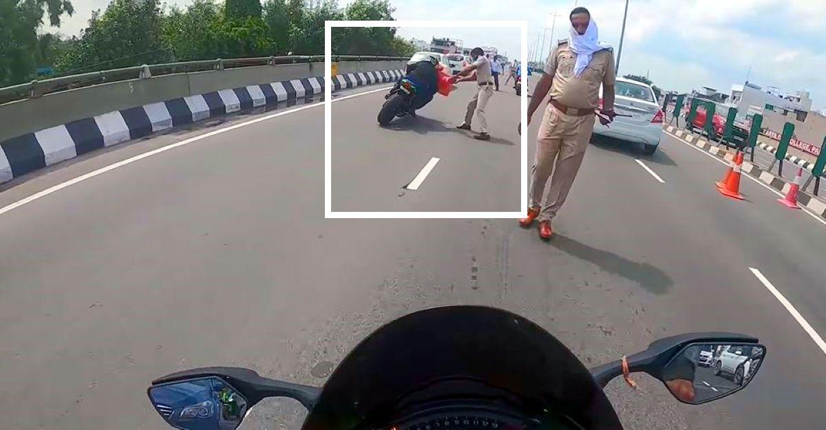 Kawasaki Ninja ZX10R सवार बिना रुके पुलिस से बच निकलता है: वीडियो