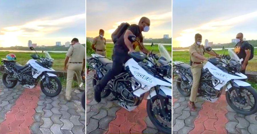 राइडर जिज्ञासु पुलिस वाले को सिखाता है कि विशाल Triumph Tiger 800 पर कैसे प्राप्त करें [वीडियो]