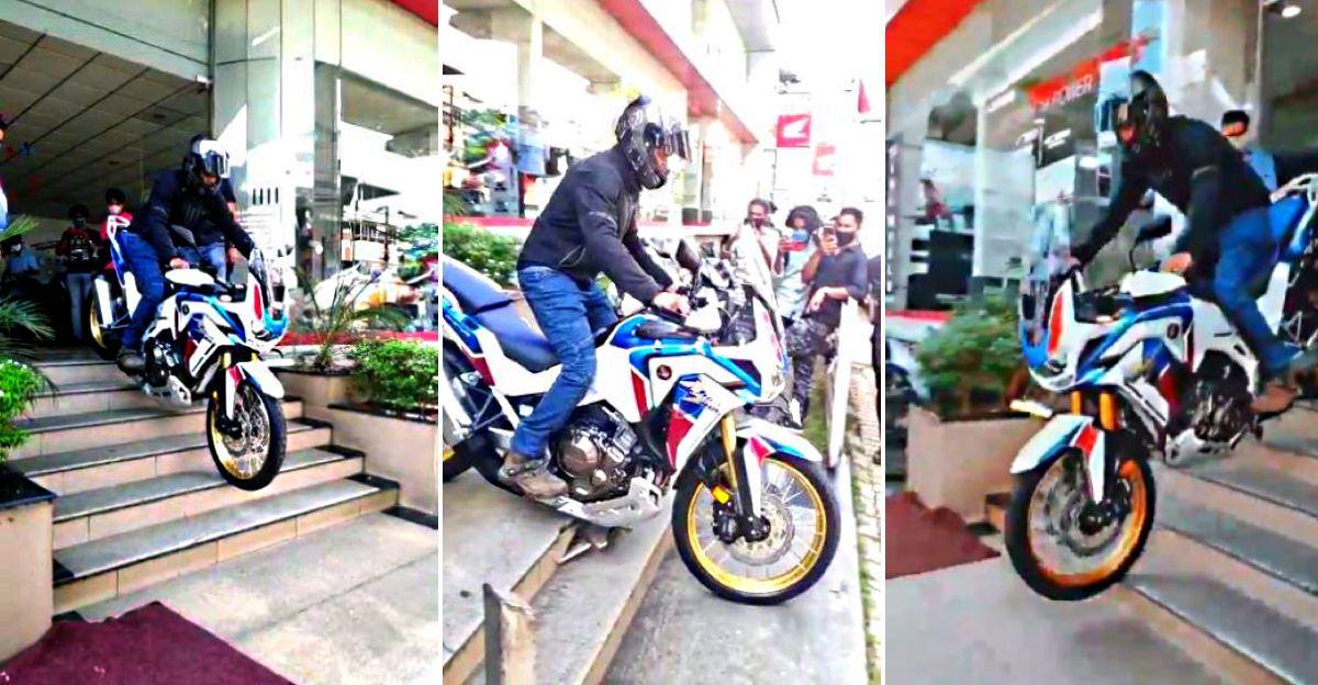 Honda Africa Twin डिलीवरी के वक्त सीढि़यों पर पहुंचते ही टूट जाती है : Sump guard ने बचाई बाइक [वीडियो]