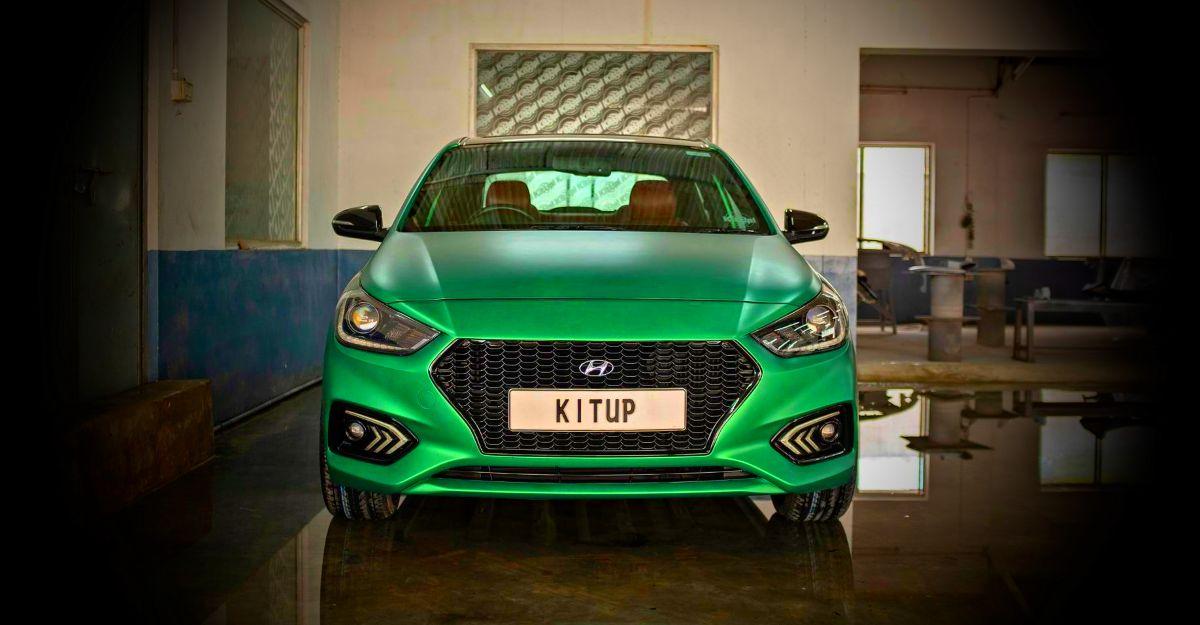 हरा साटन पेंट के साथ Hyundai Verna आकर्षित करने वालाहै: छवियों में