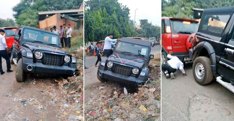 नई Mahindra Thar कचरे में फंस गई: Nuvosport ने इसे बाहर निकाला [वीडियो]