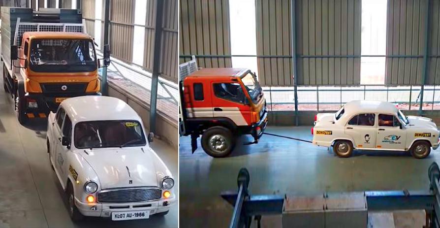 Electric Ambassador से मिलें जो Bharat Benz ट्रेलर ट्रक को टो कर सकती है [वीडियो]