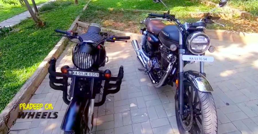 Honda CB350 H'Ness और  Royal Enfield Classic 350 के बिच तुलना वीडियो में