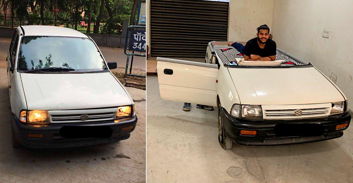 आदमी अपने 1998 मॉडल Maruti Zen को बिस्तर में बदलता है [वीडियो]