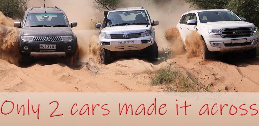 Isuzu V-Cross, Ford Endeavour, Pajero & Mahindra Thar square से एक मुश्किल ऑफ-रोड पर चढ़ाई में