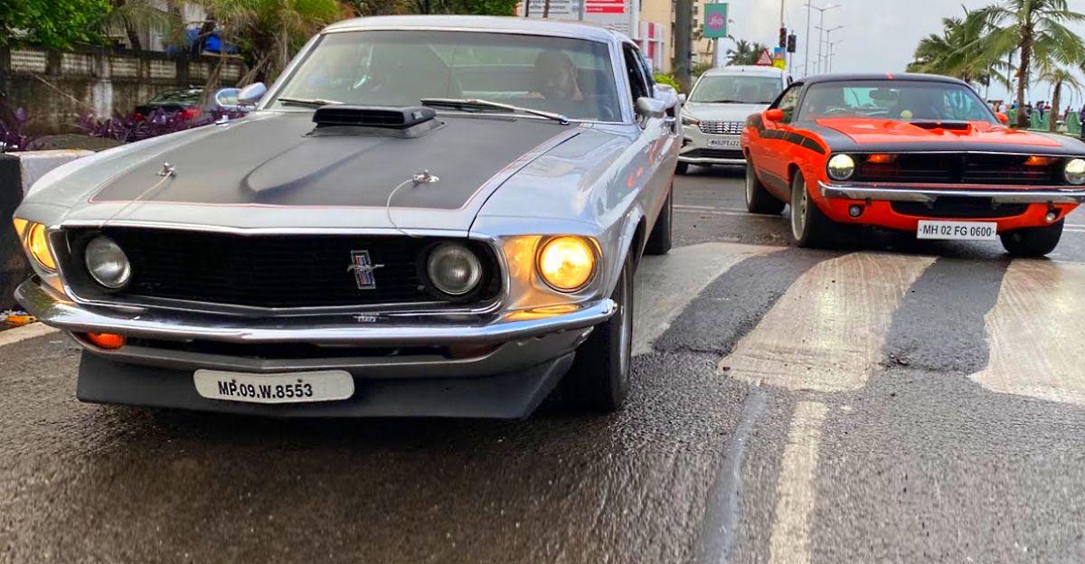 मुंबई की सड़कों पर दुर्लभ Muscle कारें:  Plymouth Barracuda, Ford Mustang & Chevrolet Impala