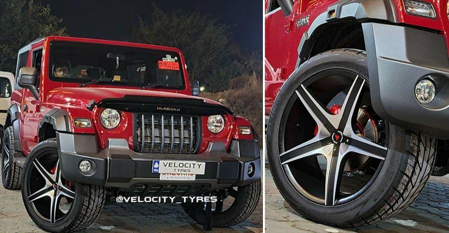 New Mahindra Thar 22 इंच के अलॉय व्हील के साथ