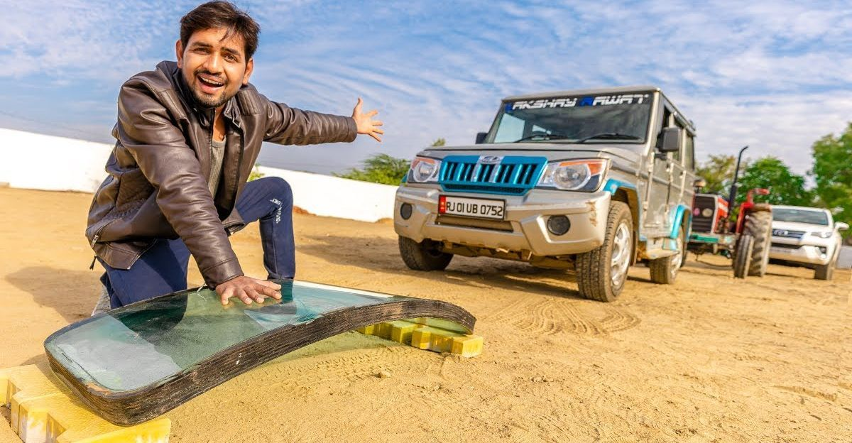 Bulletproof ग्लास बनाम Toyota Fortuner, Mahindra Bolero और ट्रैक्टर