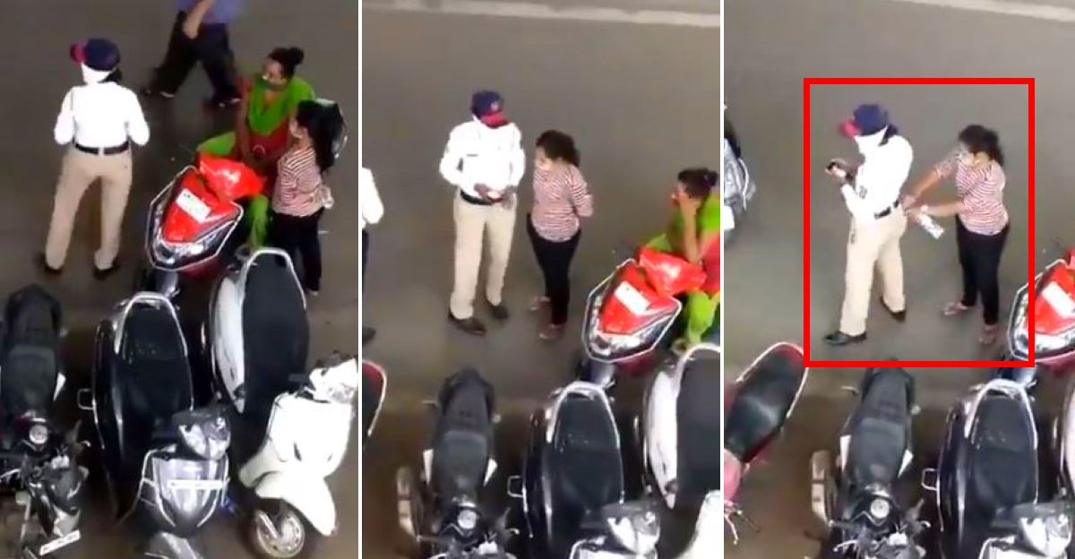 ट्रैफिक पुलिस अधिकारी एक अनोखे तरीके से रिश्वत लेते कैमरे में कैद हुआ
