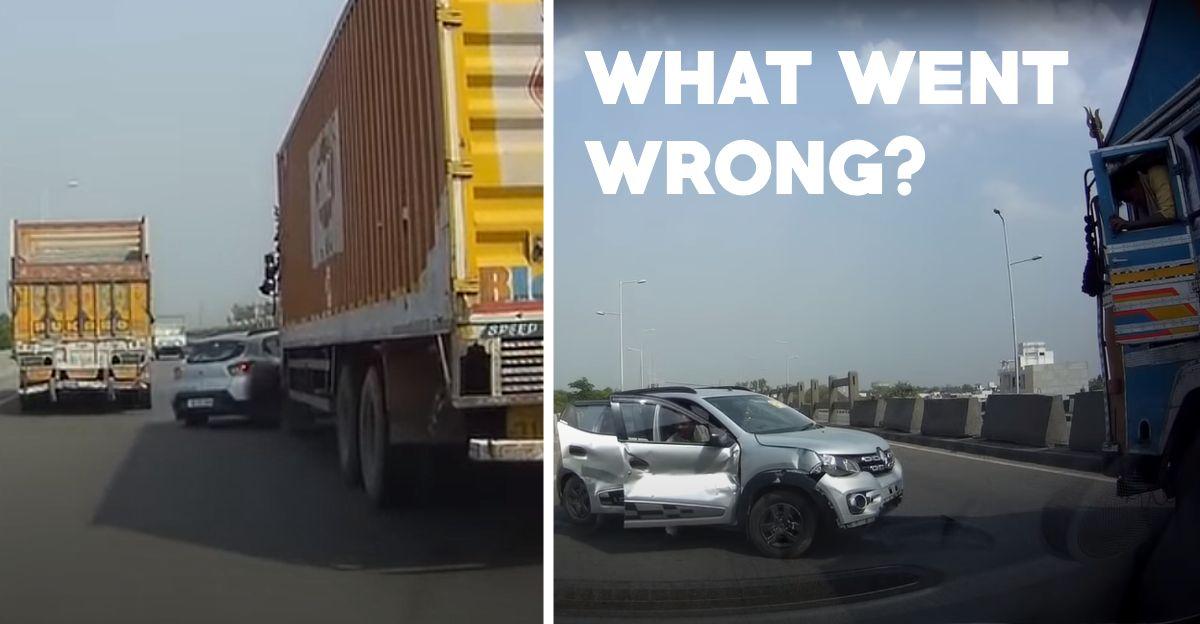 भारतीय राजमार्ग पर Tata ट्रक की चपेट में आने के बाद Renault Kwid की एक संकीर्ण मिस