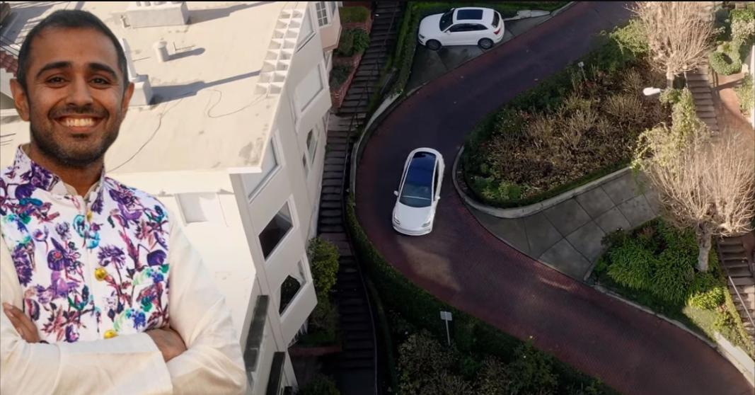 पूरी तरह से सेल्फ ड्राइविंग Tesla एक घुमावदार सड़क को संभालता है