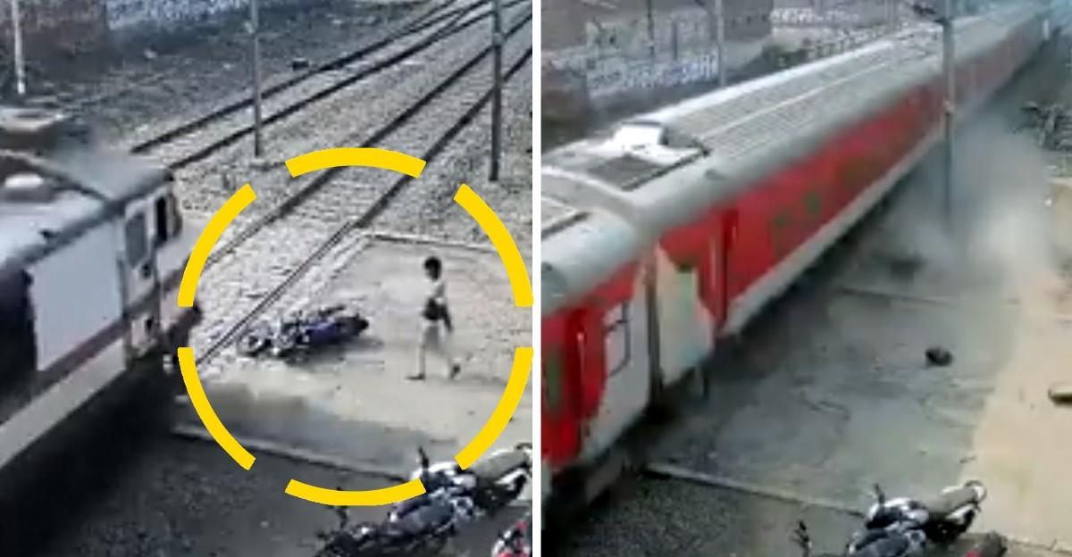 रेलवे क्रॉसिंग पर मोटरसाइकिल चालक का भाग्यशाली बचना: कैमरे में कैद