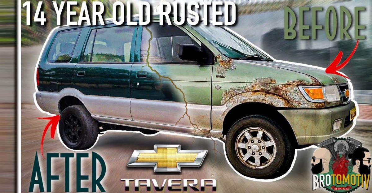 जंग लगी Chevrolet Tavera MUV को ब्रांड-नई स्थिति में खूबसूरती से बहाल किया गया