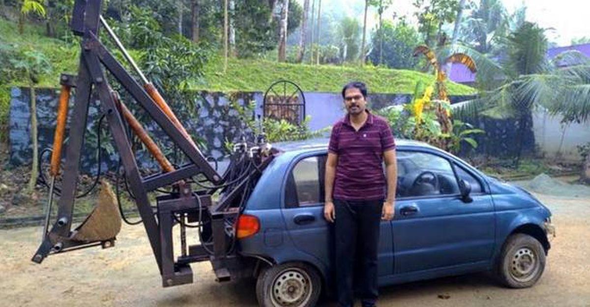ISRO इंजीनियर 22 वर्षीय अपने पुराने Daewoo Matiz को excavator में बदल देता है