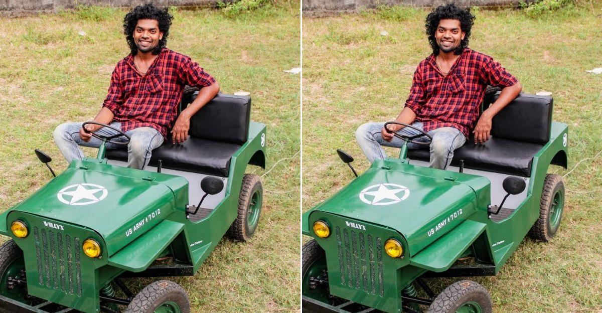 एक्शन में केरल से हस्तनिर्मित इलेक्ट्रिक लघु Jeep देखें
