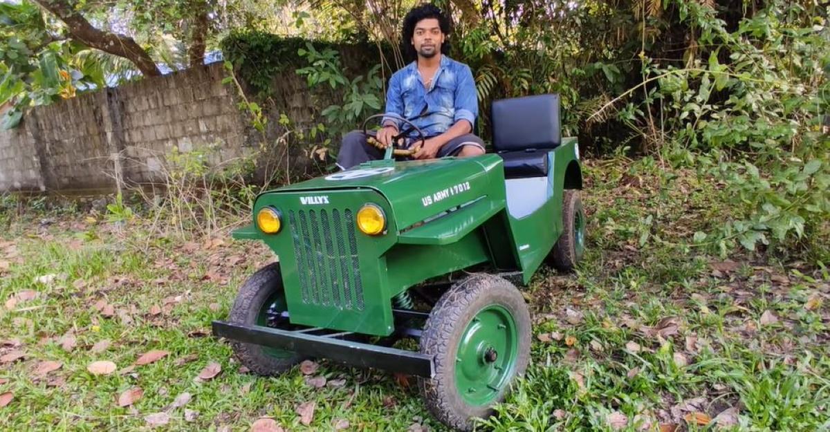 केरल का आदमी ने खरोंच से लघु Willys Electric Jeep बनाया