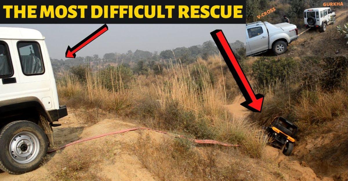Isuzu V-Cross और Force Gurkha Mahindra Jeep को  रेस्क्यू करती है जो एक बहुत ही मुश्किल जगह में फंस जाती है