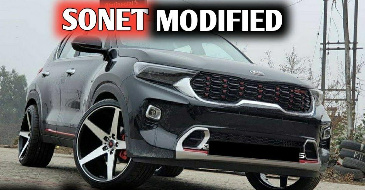 20 Inch Alloy Wheels के साथ भारत का पहला संशोधित Kia Sonet RED दिखता है