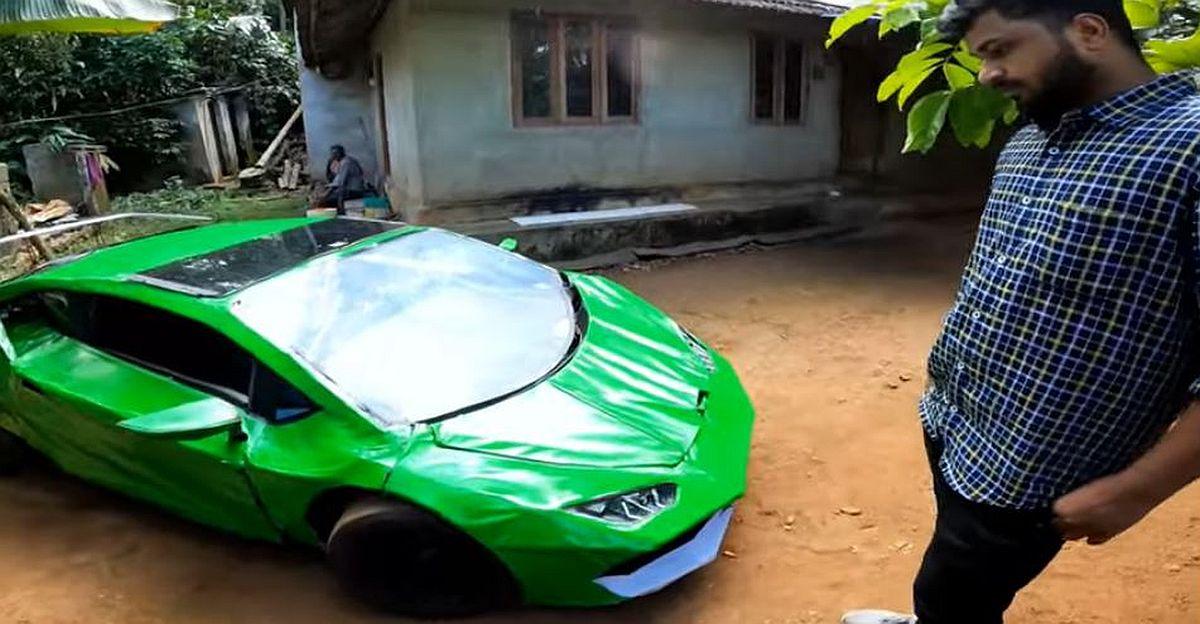 केरल के एक इंसान ने स्क्रैप का उपयोग करके एक Lamborghini Huracan प्रतिकृति बनाता है