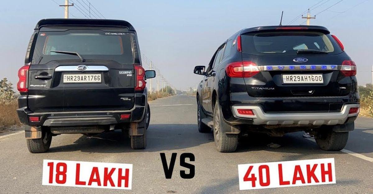 Ford Endeavour 3.2 और Mahindra Scorpio 2.2 ड्रैग रेस में